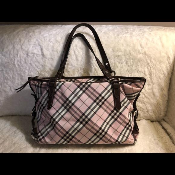 Burberry Blue Label Pink Nova Check canvas Handbag
